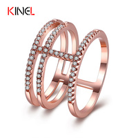 Fashion Cross Rings For Women White Gold Plated Pave Setting CZ Diamond Jewelry 3 Round Vintage