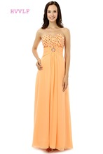 Orange Robe De Soiree 2017 A-line Sweetheart Chiffon Beaded Crystals Formal Women Long Prom Dresses Prom Gown Evening Dress