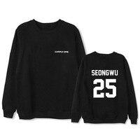 Wanna one 2018New . KPOP Sweatshirt black White coat men women Letter printing autumn winter Loose Korean version Loose Lovers