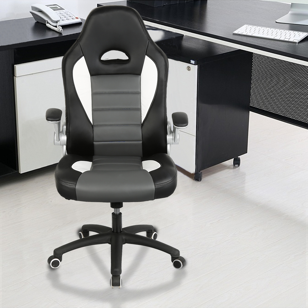 1Pc Black Color Office Confortable Soft PU Leather Executive Lifting Reclining Home Bar Working Chair Rotate Armrest Chair HWC
