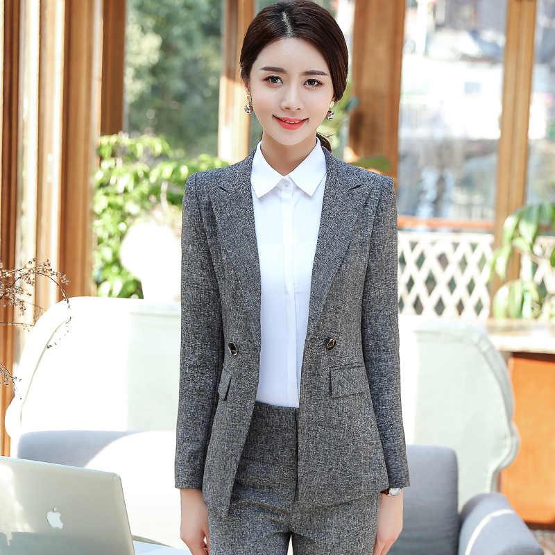 d84d4887439 ... Formal Pants Suits Women Blazer Set Office Lady Business Work Jacket  Coat High Waist Pants Female ...