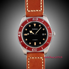 43mm Parnis black dial orange marks red bezel Stainless steel Case sapphire glass miyota Automatic Movement mens Watch