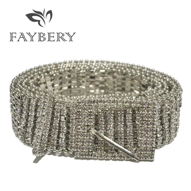 New Luxury Bling Rhinestone Women Belts for Crystal Diamonds Waist Bright Full Female Strap