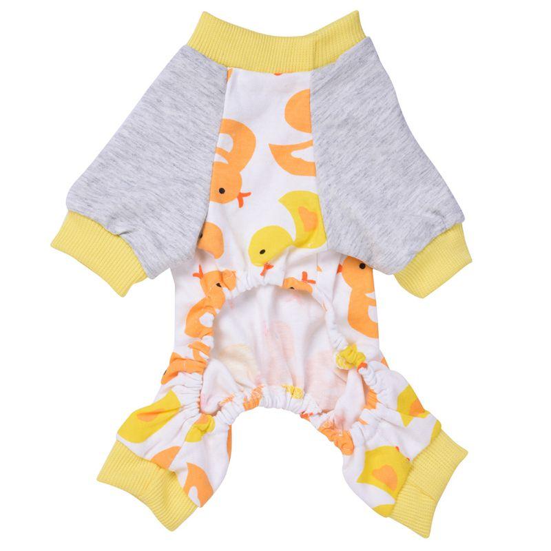Dog Pajamas Yellow Duck Blue Horse Dinosaur Pattern Cotton Pet Dog Clothes Comfortable Sleep Fashion Skin Pajamas