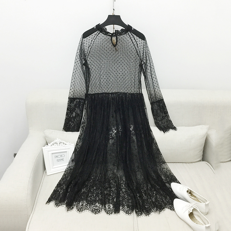 LANMREM 2018 spring summer  Korean Version Of The New Spring Long Ride Within The Long Sleeve Perspective Lace Dress A00460