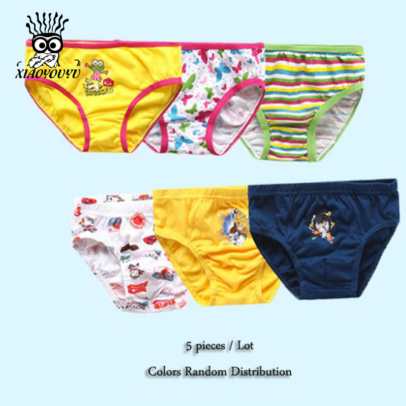 XIAOYOUYU 5 Pcs / Lot Boy & Girl Underwear Multi Color & Cartoon Fashion Size 120-160 Pink Children Cotton Panties Free Shipping