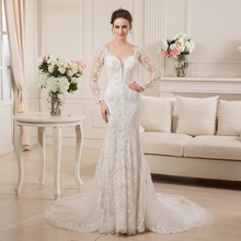 Fnoexw V-Neck Mermaid Wedding dress Long Sleeve
