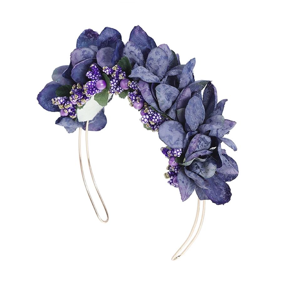 Haimeikang Women Bezel Flowers Head Girls Flower Crown Wreath Wedding Bridal Hair Accessories Fruit Floral Headband Headwear