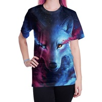 Women S T Shirts Fashion Street Style Tops 3D Printed Wolf Head Shirt Women Short Sleeved