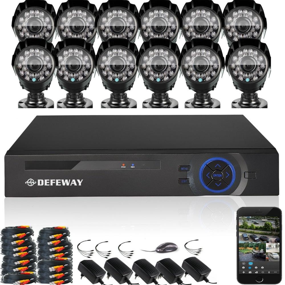 DEFEWAY 12 1200TVL 720P HD Outdoor CCTV Security Camera System 1080N Home Video Surveillance DVR Kit 16 CH 1080P HDMI Output banbao 6408