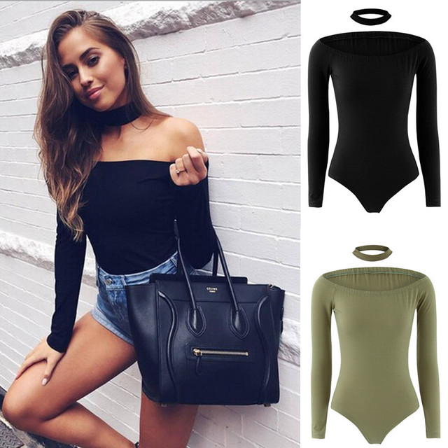 Sexy Choker High Neck Women Bodysuit 2017 Autumn Slash Neck Long Sleeve  Elegant Off Shoulder Femme Casual Slim Bodycon Jumpsuit 85ea74e3d