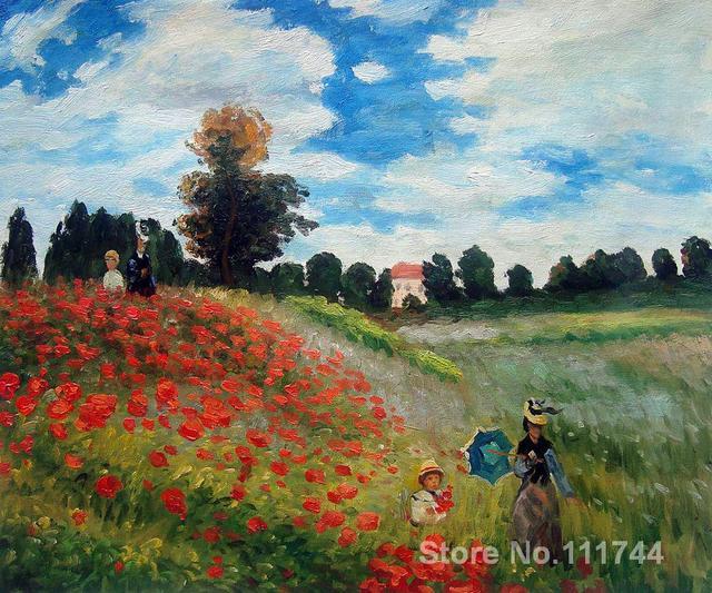 Toile art champ de coquelicot à Argenteuil Claude Monet