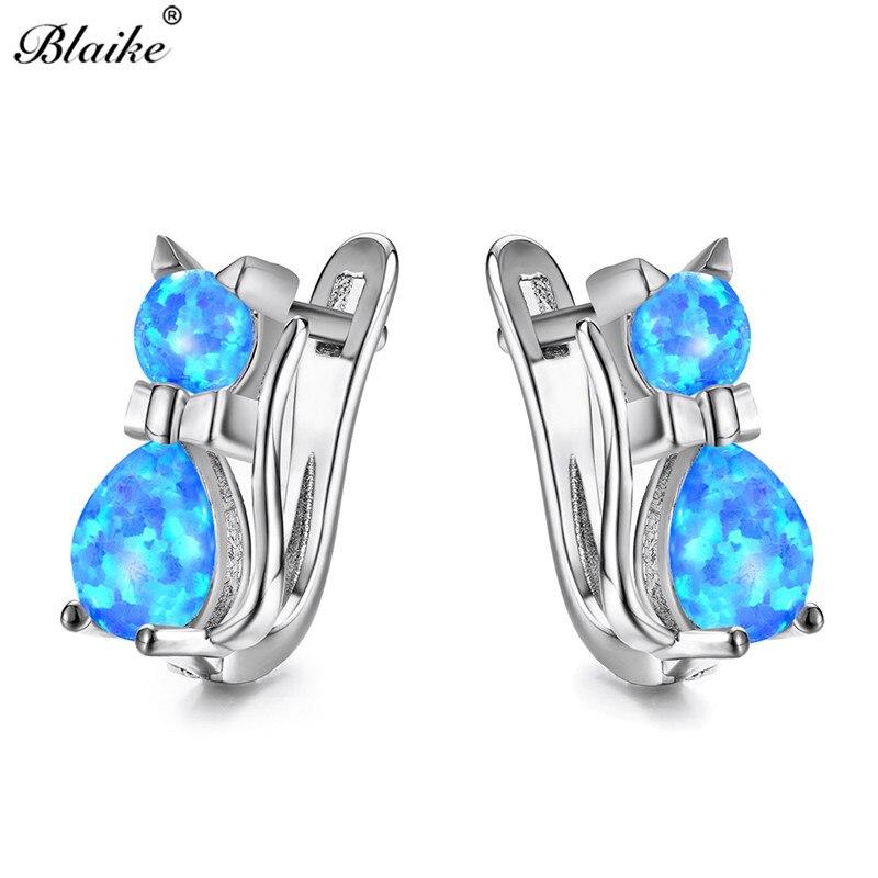 Blaike Cute Kitty Cat Hoop Earrings Blue Purple Pink White Fire Opal  Earrings For Women 925 Sterling Silver Birthstone Earrings-in Earrings from  Jewelry ... 5850fa019925