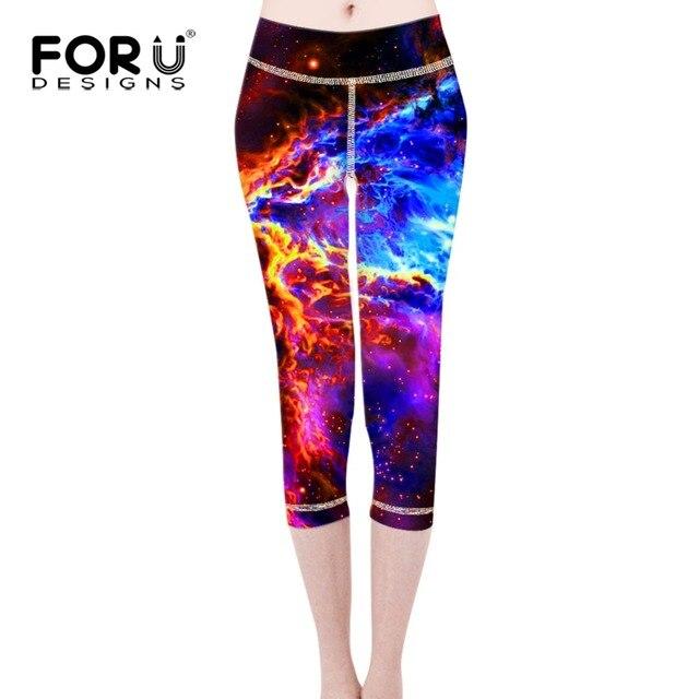 FORUDESIGNS Leggings Pants Capri Women Leggings Jeggings Pants Spandex Lacina Galaxy Space Punk Rock Legging Feminino Ropa Mujer