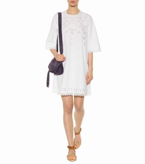 Vestido broderie blanco mujer
