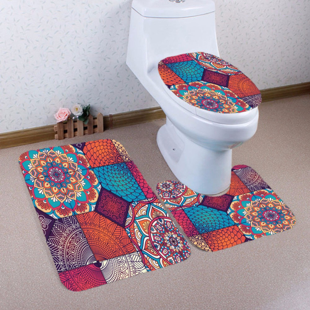 Ouneed 3PCS Multicolor Geometric Toilet Bath Mats Anti Slip Carpet for Bathroom Toilet Cover Rug Bathroom Product