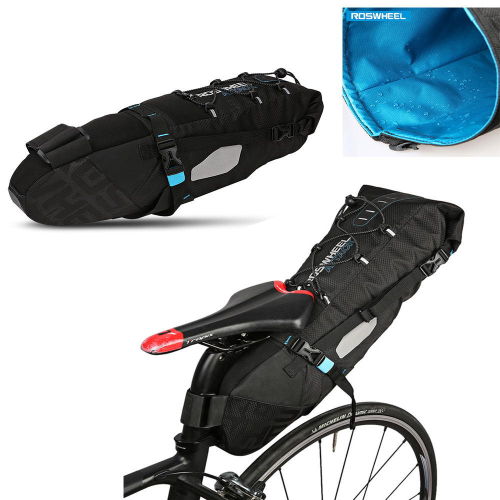 ROSWHEEL Water-Resistant 10L Bike Tail Bag Bicycle Rear Pack Saddle Bag Cycling Mountain Bike Back Seat Rear Bag Black roswheel bicycle bag men women bike rear seat saddle bag crossbody bag for cycling accessories outdoor sport riding backpack