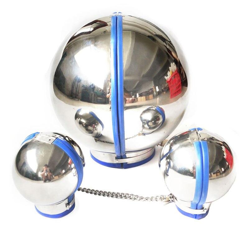 Kit de Bondage BDSM en acier inoxydable casque à capuche en forme de boule menottes en métal jouets sexuels pour Couples menottes à main collier esclave jeux pour adultes
