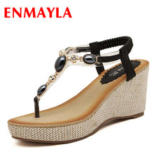 ENMAYER  size 34-40 hot summer new fashion women sandals wedges shoes T strap High Heel Sandals platform open toe casual