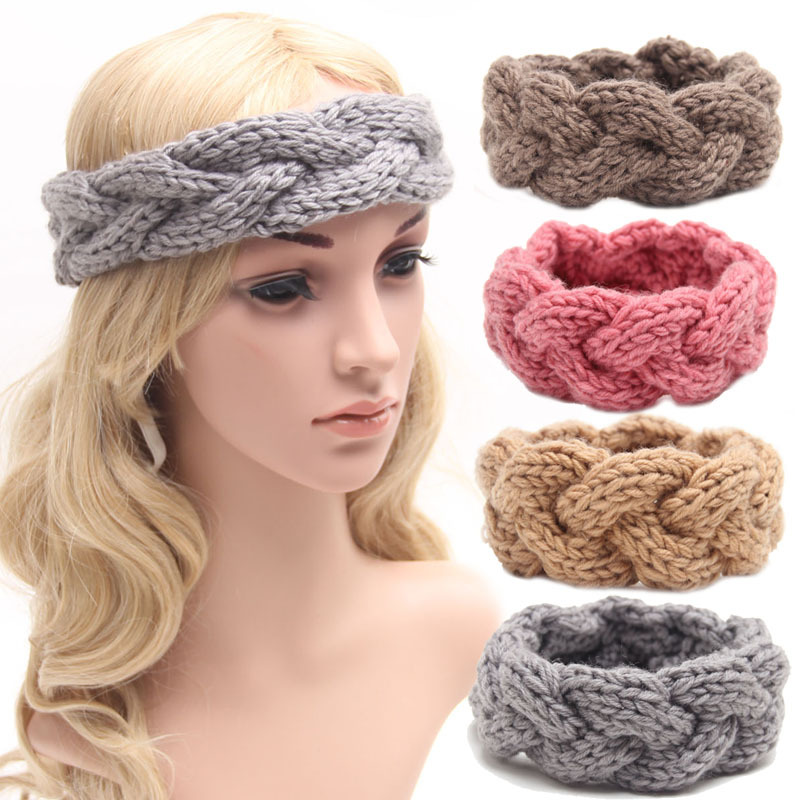 Winter Knitted Women Adult Warm Crochet Braided Headband Wool