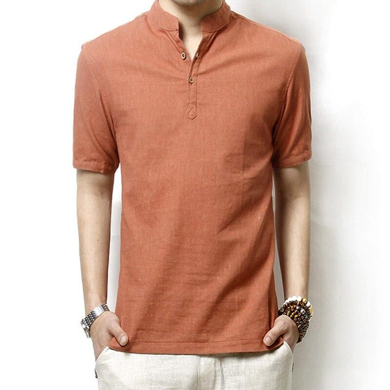 2019 New Men's Short Sleeve Cotton Linen T-Shirts Plus Size Casual 5 Color Tops Tees Summer Business Linen Retro T-Shirts LJ2248