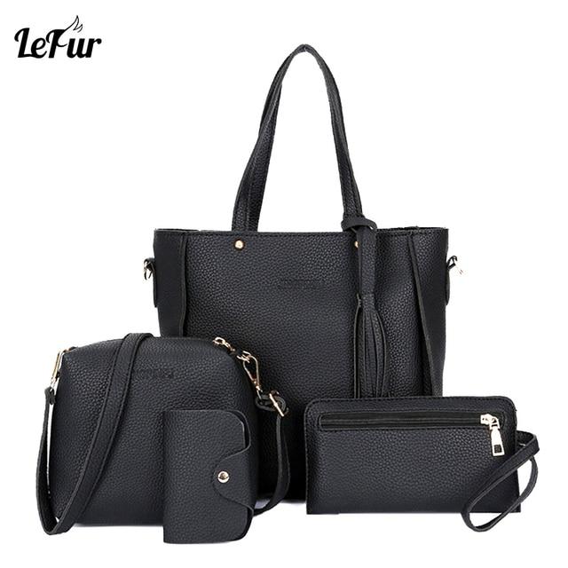 339895b294a0d Women Bag Set Top-Handle Big Capacity Female Tassel Handbag Fashion  Shoulder Bag Ladies PU