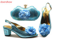 doershow Italian sky blue Shoes and Bags To Match Set Nigerian Shoes and Matching Bag African Wedding Shoes and Bag Set!STB1 2