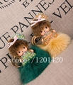 MONCHHICHI hat  keychain fox fur  best gift for lady  handbag charm cute gifts sparkly crystal pompoms key rings bag bug