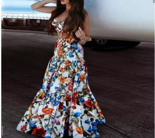 3xs Personalizable Grande Estampado Sirena 10xl Con Para Flores Falda Larga De Mujer Talla 6wqafT
