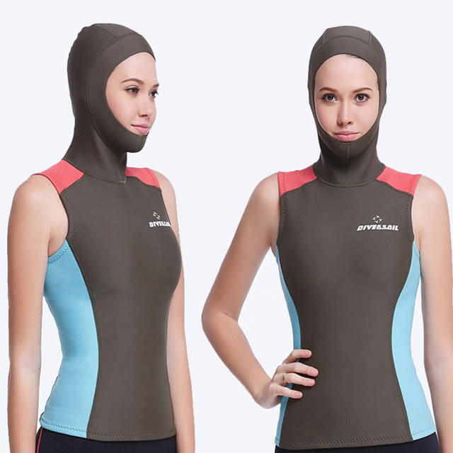 cacf2a9911 Dive Sail wetsuits hooded vest 1.5MM womens diving hood vest spearfish neoprene  Wetsuit