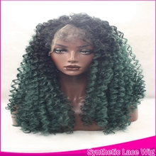 Ombre 2Tones Natural Curly Wigs Synthetic Lace Front Wig Kylie Jenner Heat Resistant With Baby Hair For Black Women High Density