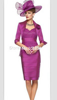 Fuchsia Lace and Chiffon V Neck Knee Length Sheath Mother of the Bride Dresses Mother Dress with Jacket Wedding Party Dress