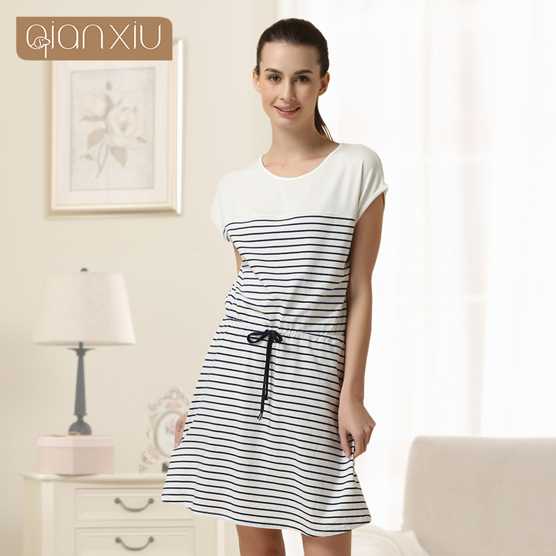 Special Offer Sale Sashes Striped Gecelik Qianxiu Brand Lingerie Girl Sexy   Sleepshirts   Cotton   Nightgown   Kintted Underwear 1512