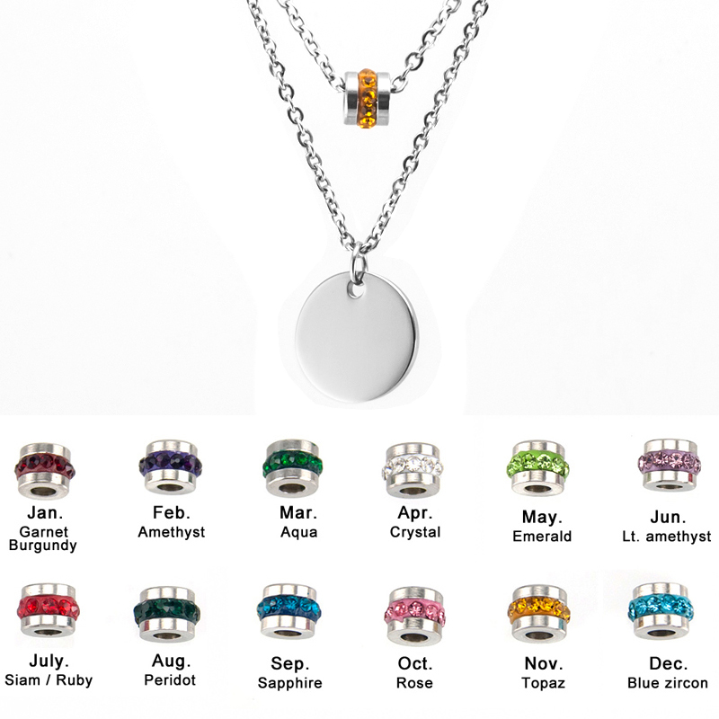 Hearty 100% Stainless Steel Blank Coin Bar Pendant Necklace 15mm Metal Disc With Birthstone Double Layer Necklaces Wholesale 12pcs With The Most Up-To-Date Equipment And Techniques Jewellery & Watches