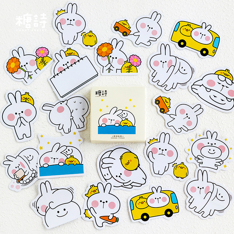 45pcs/pack Lazy Rabbit Mini Paper Stickers Decoration DIY Diary Scrapbooking Seal Sticker Stationery School Supplie