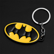 1pcs Toys Process Metal Classic Yellow Black Batman Logo Skull Keychain Mask Keychain Toys Batman Keyring Key Gift Toys(China)