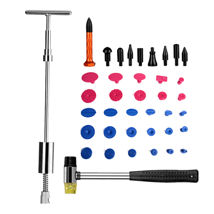 PDR Tools Kit Dent Removal Paintless Dent Repair Tools Dent Puller Slide Hammer Glue Tabs Tap Down Tools Hand Tools Set professional pdr tools 2 in 1 slide hammer glue tabs high quality paintless dent repair tools set