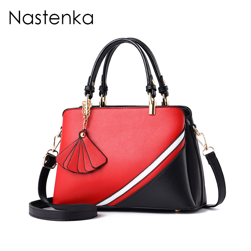 Nastenka Ladies Shoulder Bag Panelled Luxury Handbags Women Bags Designer Leather Top-Handle Bags Female Tote Sac Femme Bolsa шапка neff snappy beanie red grey navy