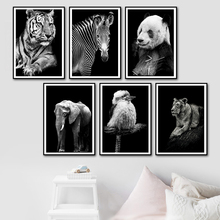 Lion Tiger Zebra Panda Wall Art Canvas Painting Nordic Poster And Print Animal Pictures For Living Room Scandinavian Decor