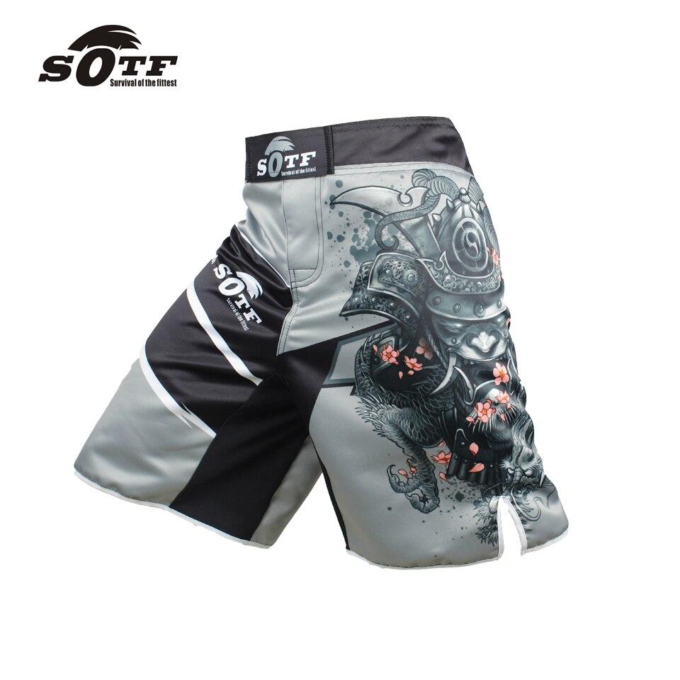 Prix pour SOTF hommes de guerrier Japonais gris sport fitness angle pantalon Tiger Muay Thai pas cher pretorian boxe shorts mma courte kickboxing