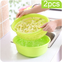 Plastic Double Layer Kitchen Drain Basket Fruit Vegetable Washing Tools Cleaning Storage Organizer