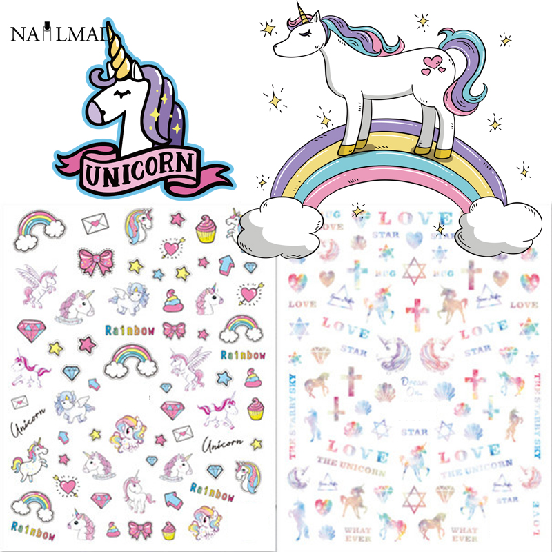 1 sheet Unicorn Nail Art Stickers Rainbow Nail Sticker Butterfly Adhesive Nail Sticker Decals 1 sheet fading flower 3d nail art stickers lotus nail sticker adhesive nail decals nail stickers