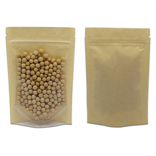 100Pcs Clear Brown Kraft Paper Stand Up Zip Lock Packaging Bags Reclosable Zipper Food Storage Pack Pouches for Beans Tea Nuts
