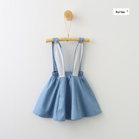 70350830 Retail 2017 New Summer Dress Baby Girl Dress Solid 3D Bunny Ear Suspendent Girls Dress