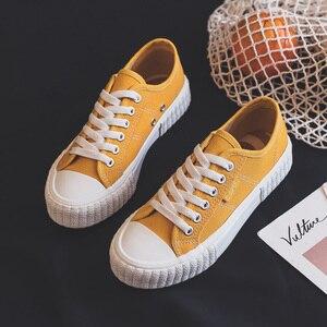 Image 5 - Sapatilhas femininas sapatos de lona primavera tendência casual apartamentos sapatilhas femininas nova moda conforto cor sólida sapatos vulcanizados