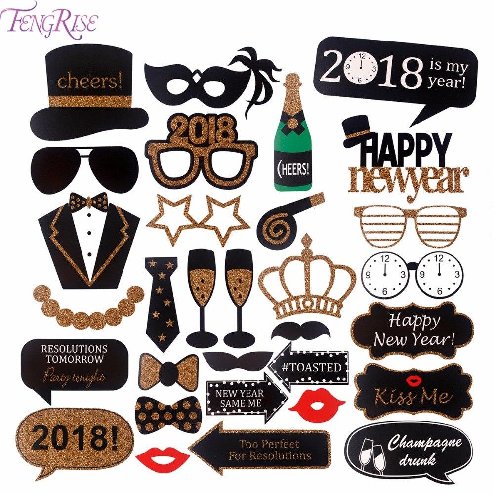 Fengrise Happy Новый год 2018 Photo Booth Реквизит Смешные маска DIY Очки Новый год Eve доске Рождество Аксессуары Photobooth