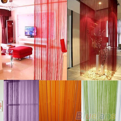 NEW Solid Plain String Door Curtain Fly Screen Divider Room Window Decor DIY Blind Tassel Drape