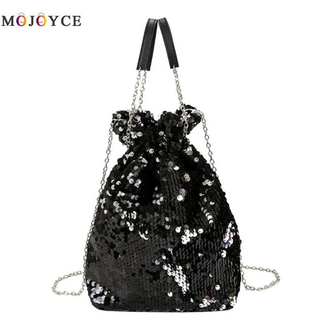 Bling Sequin Mini Bucket Bag Shoulder Chain Women Messenger Bags Evening  Party Handbag Lady Tote Bolsa Feminina b92610eaf50b