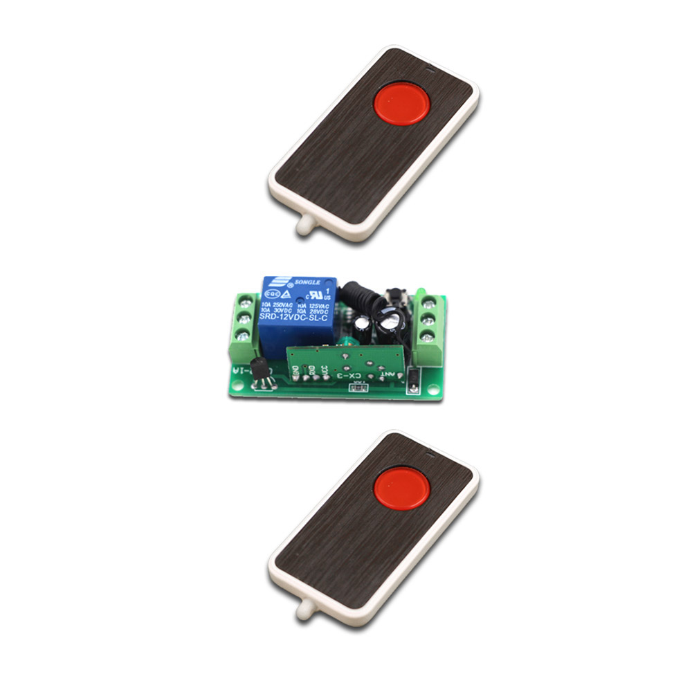red button dc9v 12v 24v rf switching 2transmitter 1receiver wireless remote control switch system manual button limit switch [ 1000 x 1000 Pixel ]
