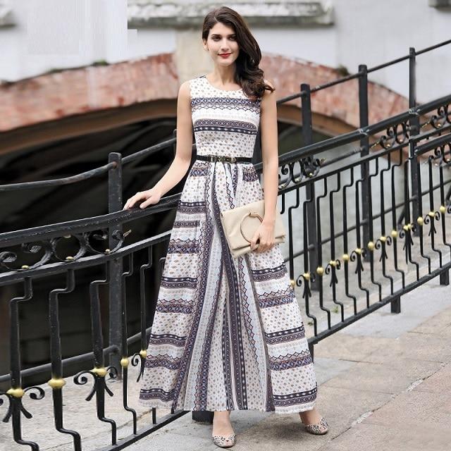 Xxxl mode lange dress 2017 lente zomer vrouwen vintage nationale stijl print mouwloze lange maxi dress pretty korte dress grote